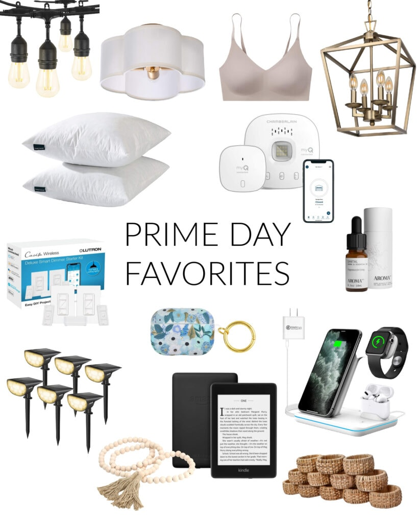 2021 Amazon Prime Day favorite sale items. We own many of these items including the shatterproof string lights, throw pillow inserts, comfy bra, solar landscape lights, 3-in-1 charger, wood bead garland, rattan napkin rings and more!