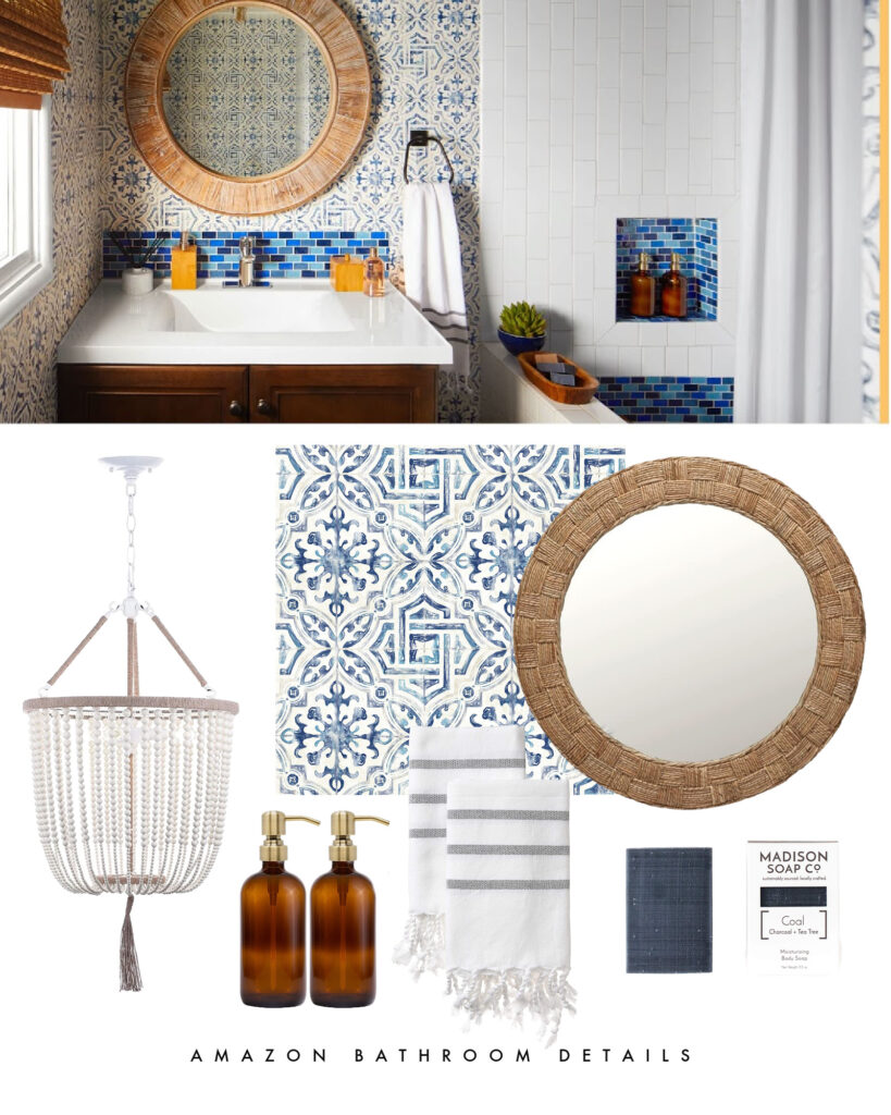 Amazon Whole Home Makeover featuring a bathroom renovation with a bead chandelier, Spanish tile wallpaper, a round woven mirror, striped hand towel, and amber soap bottles.
