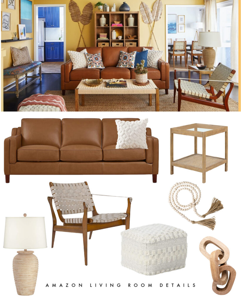 Neutral living room furniture and decor from this Amazon Whole Home Makeover! Includes a leather sofa, woven leather chair, neutral pouf, ridged lamp and woven side table.