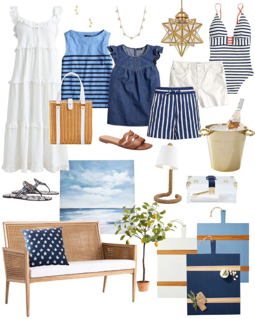 The best 2021 4th of July Weekend Sales for women's fashion and home decor! This curated collection includes coastal inspired picks in shades of blue, white and neutrals.