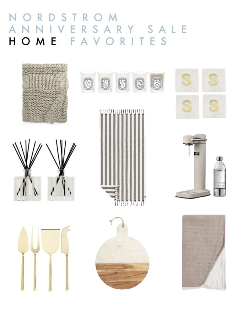 Nordstrom Anniversary Sale 2021 Top Picks for home decor including a chunky knit throw blanket, marble serving board, marble coasters, striped Turkish towel, sparkling water maker, and more!