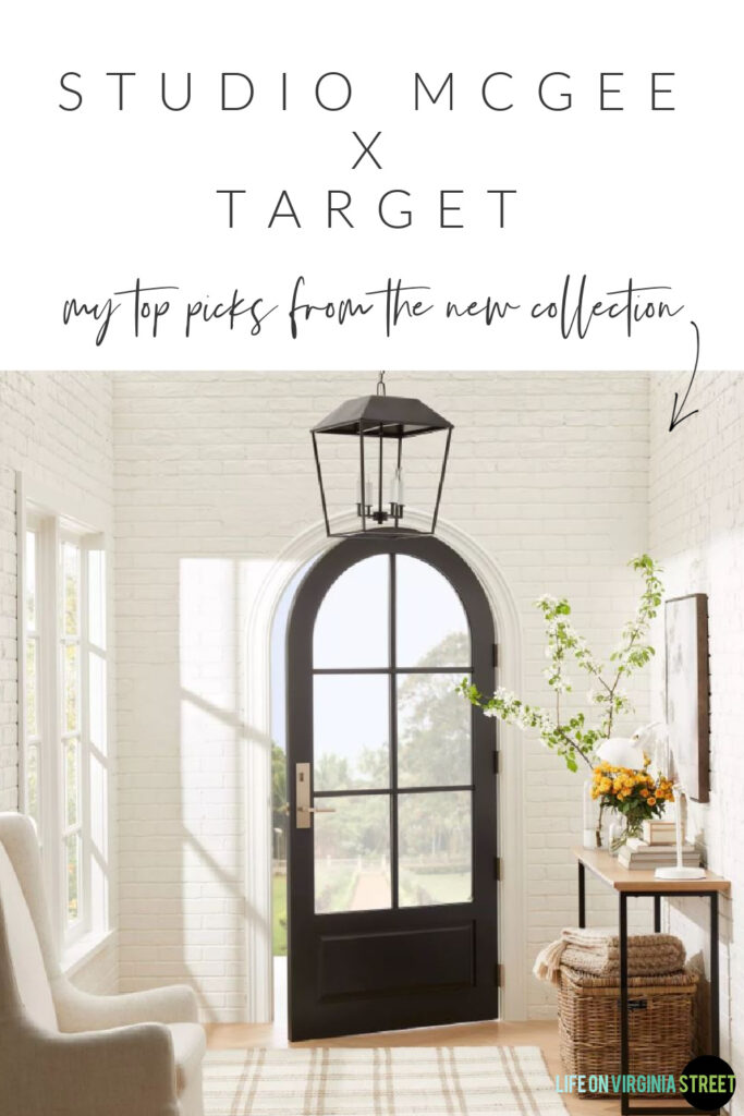 Favorite finds from the Studio McGee fall collection at Target! Includes a black lantern pendant light, plaid rug, light upholstered chair, console table, and abstract art.