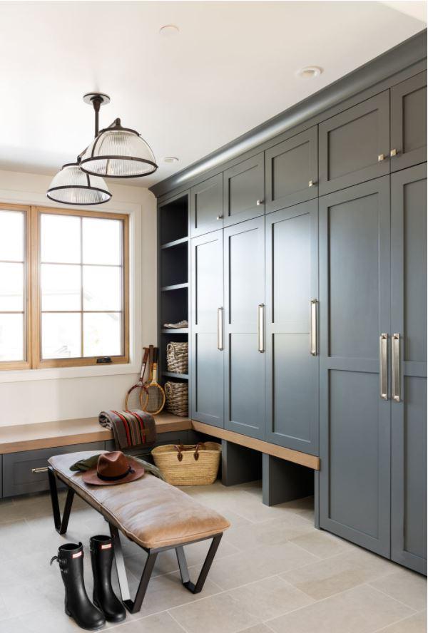 Benjamin Moore French Beret mud room cabinets.