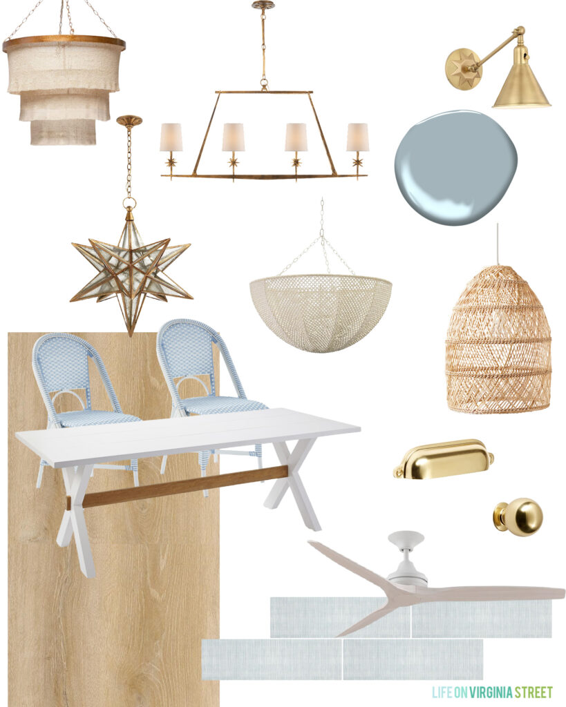 A mood board with some coastal chandelier ideas for our pool house dining area.