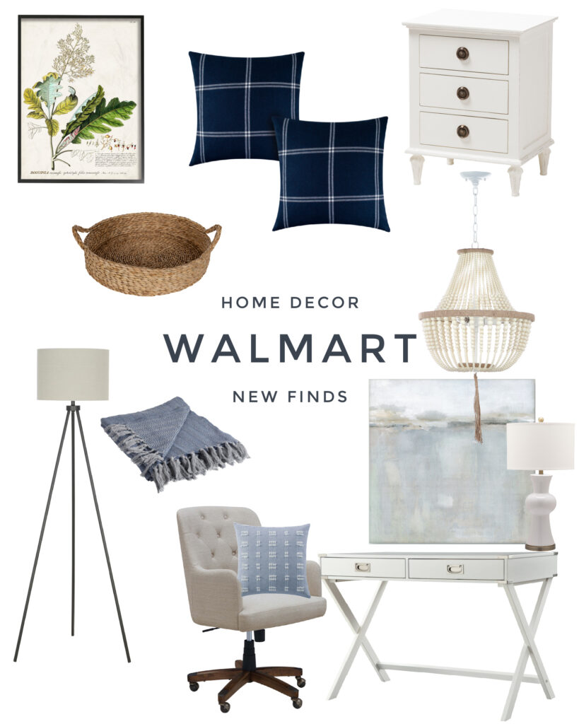 Cute Walmart home decor finds! Get the coastal look in your home office with this abstract art, bead chandelier, linen desk chair, white campaign desk, plaid pillows and more!