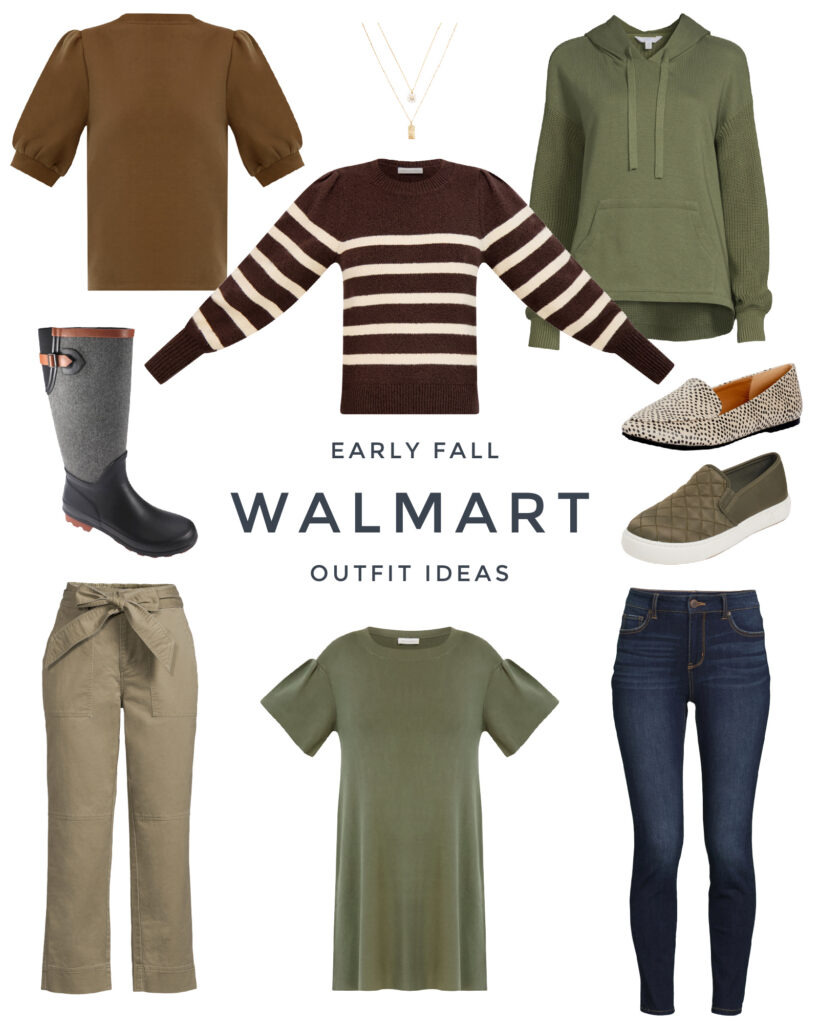 Walmart fall fashion and early fall outfit ideas. Includes a puff sleeve top, striped sweater, sweater hooding, rain boots, quilted sneakers, and skinny jeans.