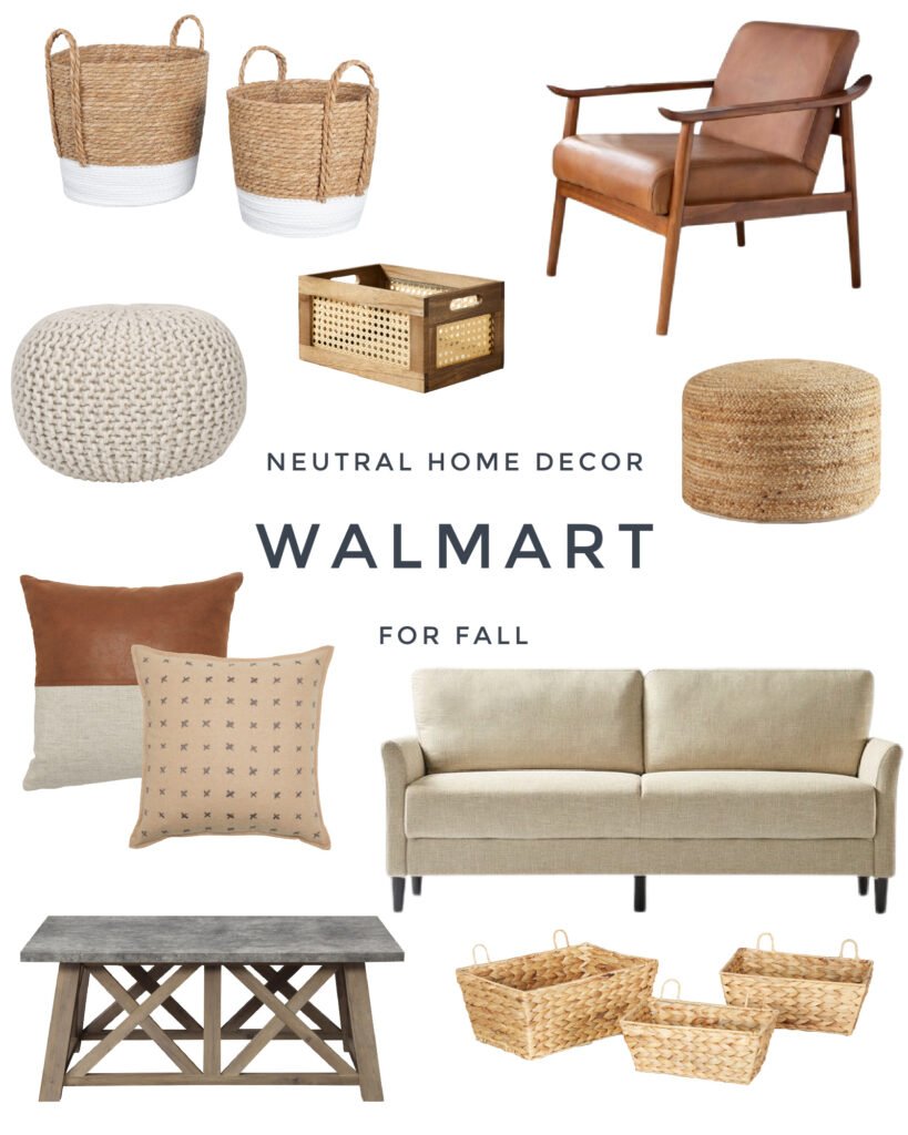 Recent Walmart home decor finds for fall and the winter months! I love this relaxed ranch vibe with a neutral sofa, farmhouse coffee table, jute pouf, leather chair, woven baskets, and cozy throw pillows!