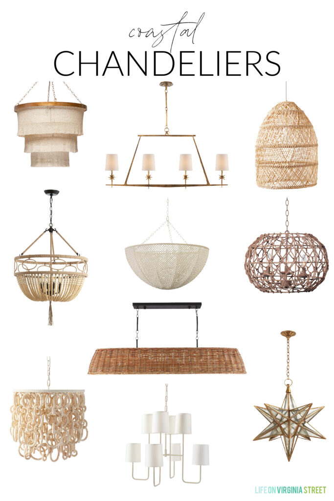 A collection of coastal chandeliers to use in an entryway, dining room, bedroom or space in your home! Includes rattan pendant lights, Moravian star light fixtures, bead chandeliers and many more!