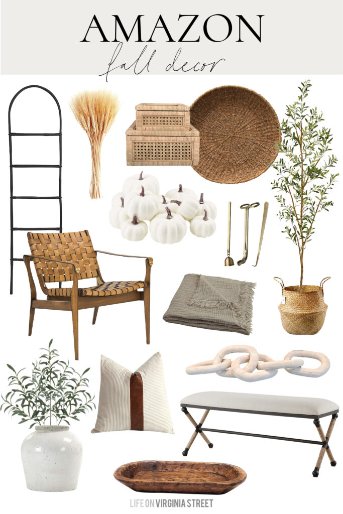 2021 Amazon Fall decor top picks! Includes a blanket ladder, woven leather chair, faux olive tree, dried wheat stems, a wood dough bowl, olive leaves, a light wood chain decor, and cozy blanket!