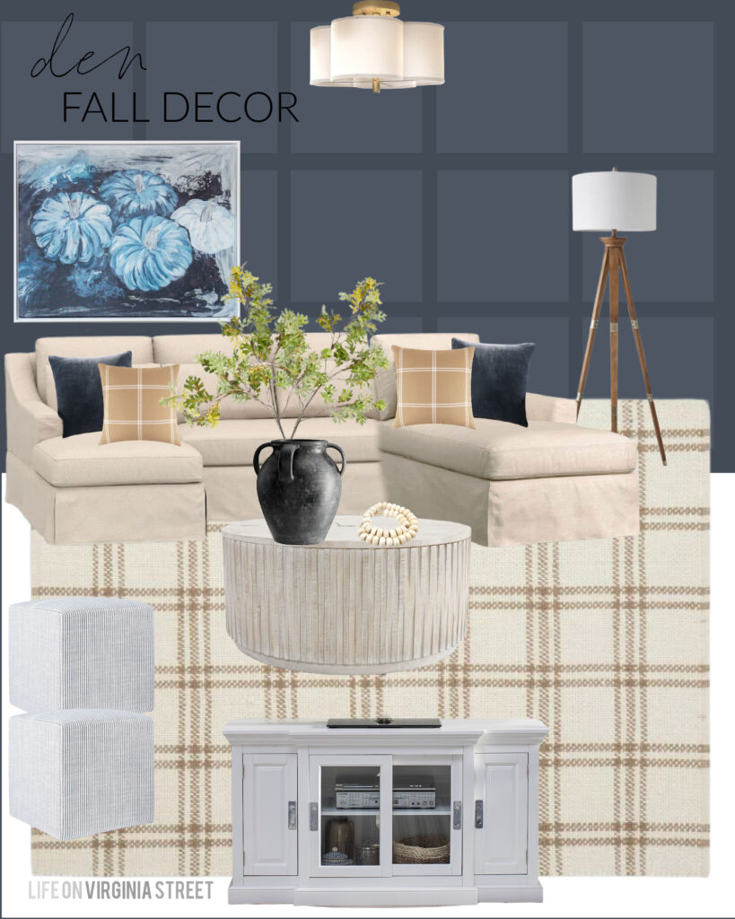 Fall decorating ideas for our den / TV room! I'm thinking of painting the walls Benjamin Moore Hale Navy because I love it paired with our linen sofa, plaid rug, round coffee table (includes hidden storage), and upholstered ottomans. For fall I plan to add my blue pumpkin art, faux maple leaves, blue velvet pillows, plaid pillow covers and my weathered black vase!
