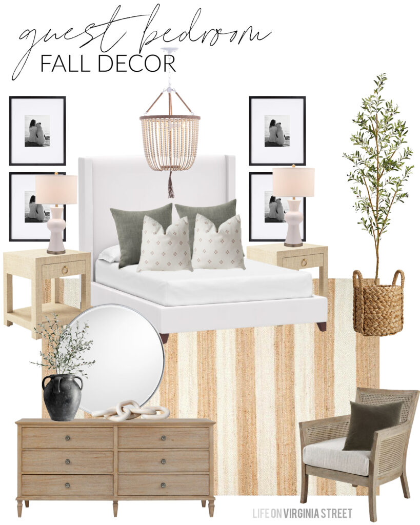 A fall design board for our guest bedroom. Includes a white upholstered bed, striped jute rug, sage green linen pillows, a gallery wall and faux olive tree. So many cozy home decor pieces!