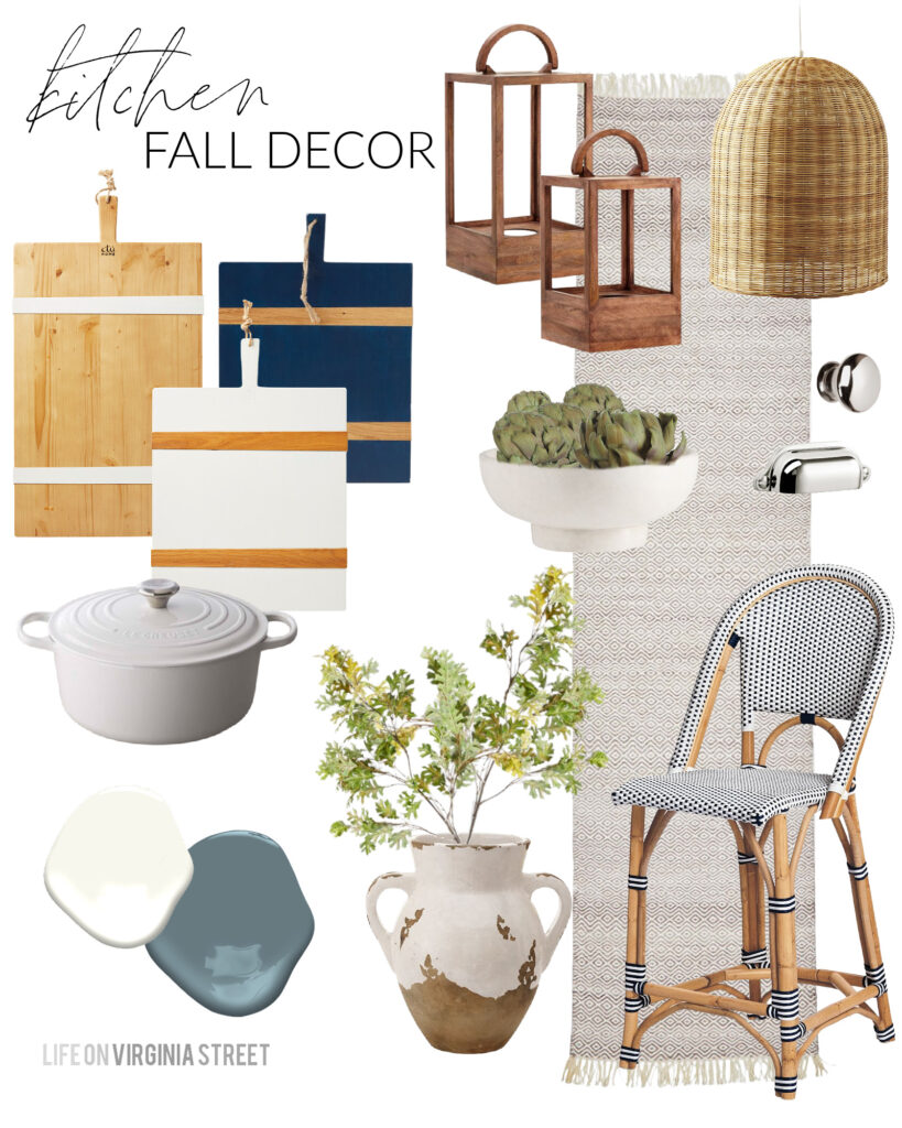 Sharing my fall kitchen decorating ideas and mood board! I've incorporated some wood lanterns, faux artichokes, faux maple leaves, and cozy textures in with our basket pendant lights, woven bistro counter stools and striped wood cheese boards!