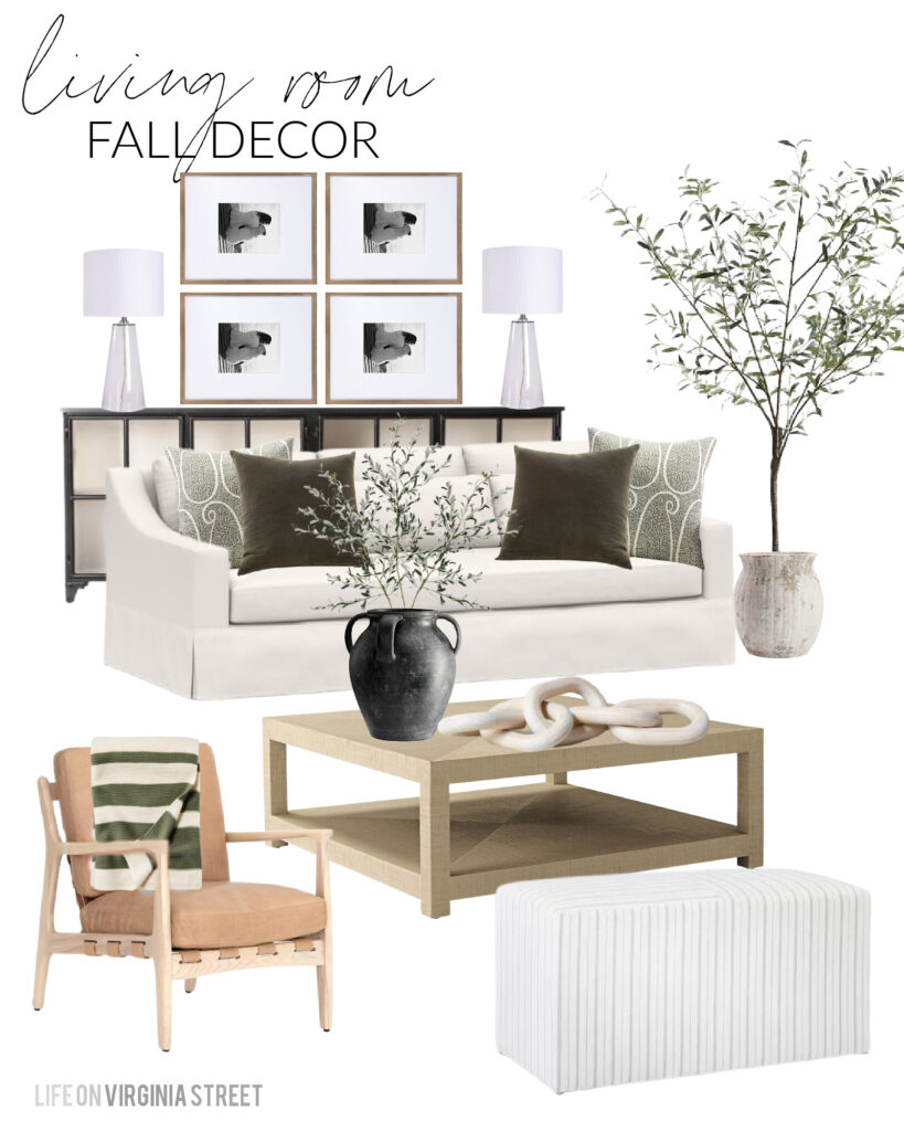 Fall design board and decorating ideas for our living room! I'm loving these olive green velvet pillows paired with the green paisley print pillow. This 7' faux olive tree is one of my favorite purchases of the year and looks so pretty paired with our linen sofas and buckle back leather armchairs. I'm also linking my favorite weather black vase and faux olive branches.