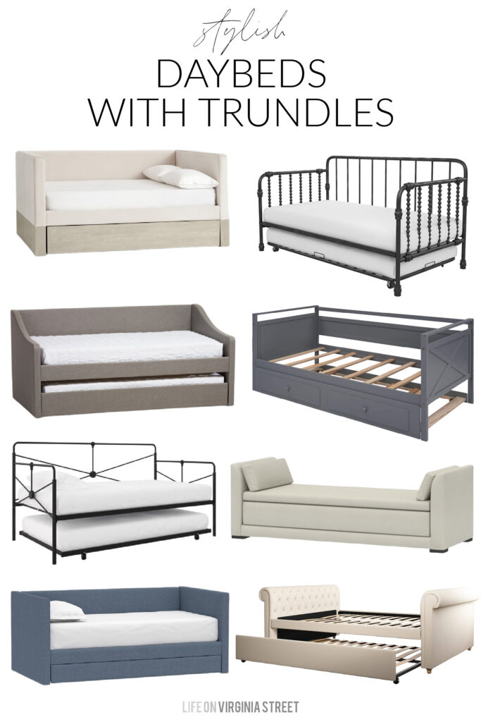 A collection of stylish daybeds with trundles, including upholstered daybeds, metal daybeds, trundle daybeds and more!